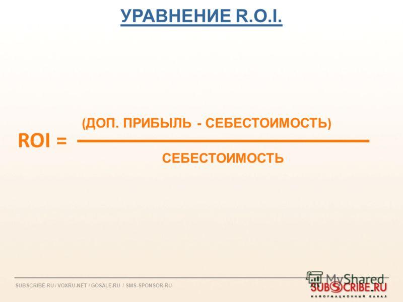 SUBSCRIBE.RU / VOXRU.NET / GOSALE.RU / SMS-SPONSOR.RU ROI = СЕБЕСТОИМОСТЬ ( ДОП. ПРИБЫЛЬ - СЕБЕСТОИМОСТЬ ) УРАВНЕНИЕ R.O.I.