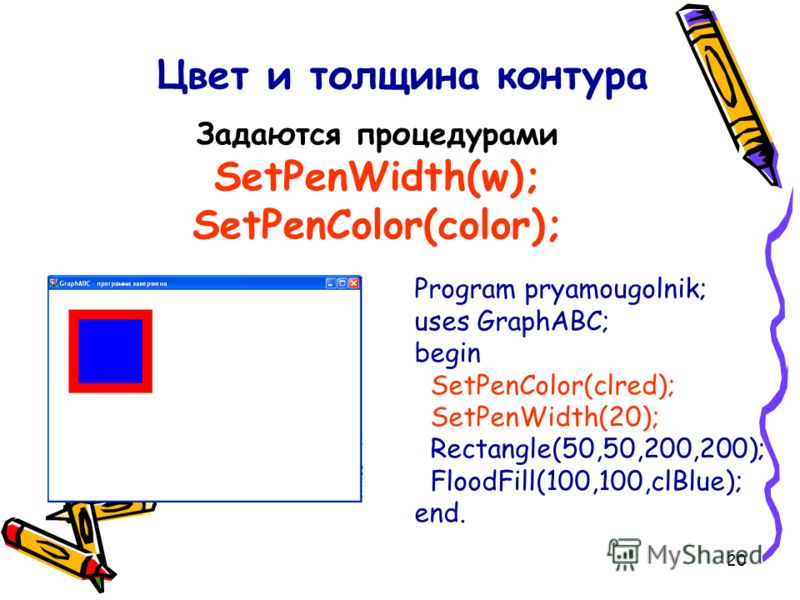 20 Program pryamougolnik; uses GraphABC; begin SetPenColor(clred); SetPenWidth(20); Rectangle(50,50,200,200); FloodFill(100,100,clBlue); end. Цвет и толщина контура Задаются процедурами SetPenWidth(w); SetPenColor(color);