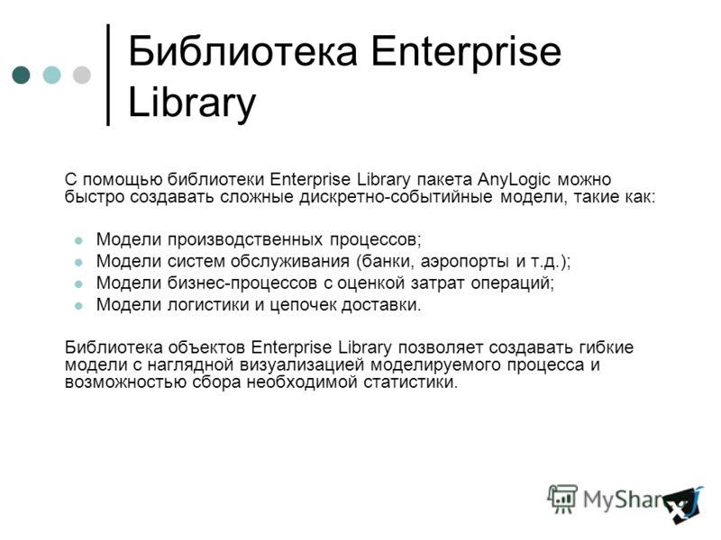 Библиотека Enterprise Library С помощью библиотеки Enterprise Library пакета AnyLogic можно быстро создавать сложные дискретно-событийные модели, такие как: Модели производственных процессов; Модели систем обслуживания (банки, аэропорты и т.д.); Моде