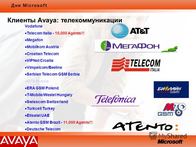 Vodafone Telecom Italia - 10,000 Agents!!! Megafon Mobilkom Austria Croatian Telecom VIPNet Croatia Vimpelcom/Beeline Serbian Telecom GSM Serbia MTS Russia ERA GSM Poland T-Mobile/Westel Hungary Swisscom Switzerland Turkcell Turkey Etisalat UAE Atent