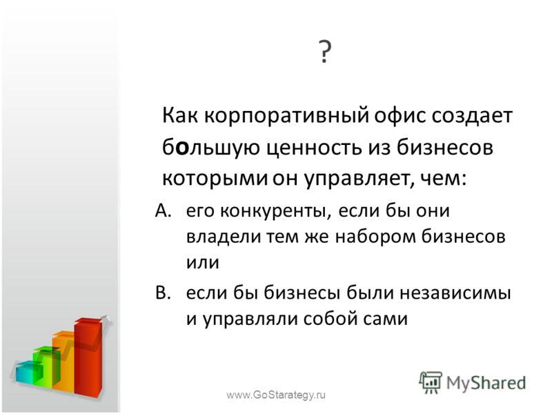 ? Как корпоративный офис создает б о льшую ценность из бизнесов которыми он управляет, чем: A.его конкуренты, если бы они владели тем же набором бизнесов или B.если бы бизнесы были независимы и управляли собой сами www.GoStarategy.ru
