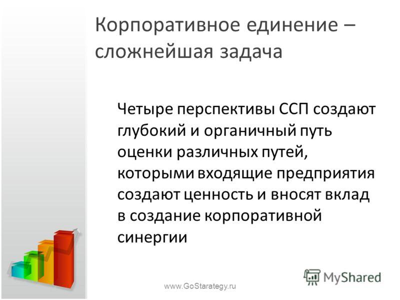 Корпоративное единение – сложнейшая задача Четыре перспективы ССП создают глубокий и органичный путь оценки различных путей, которыми входящие предприятия создают ценность и вносят вклад в создание корпоративной синергии www.GoStarategy.ru