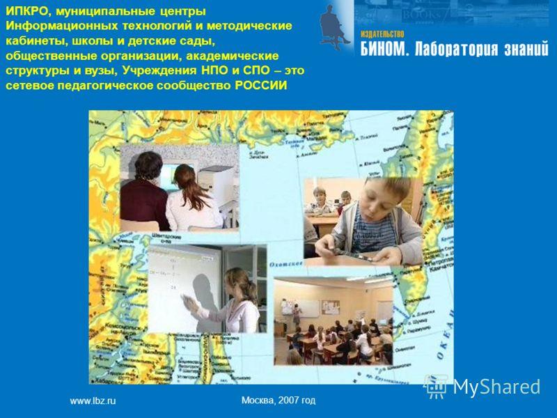 www.lbz.ru Москва, 2007 год ИПКРО, муниципальные центры Информационных технологий и методические кабинеты, школы и детские сады, общественные организации, академические структуры и вузы, Учреждения НПО и СПО – это сетевое педагогическое сообщество РО