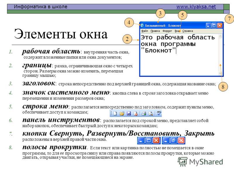 Информатика в школе www.klyaksa.netwww.klyaksa.net 1. рабочая область : внутренняя часть окна, содержит вложенные папки или окна документов; 2. границы : рамка, ограничивающая окно с четырех сторон. Размеры окна можно изменять, перемещая границу мышь