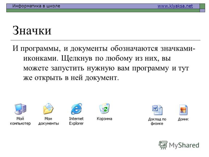 Информатика в школе www.klyaksa.netwww.klyaksa.net Значки И программы, и документы обозначаются значками- иконками. Щелкнув по любому из них, вы можете запустить нужную вам программу и тут же открыть в ней документ.