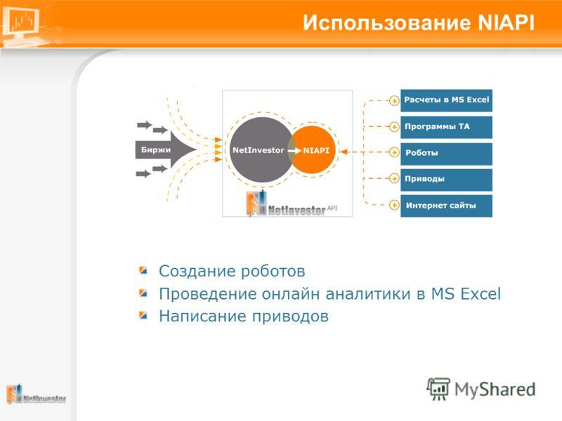 Использование NIAPI Создание роботов Проведение онлайн аналитики в MS Excel Написание приводов