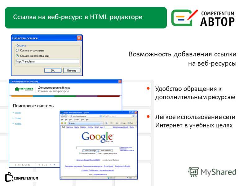 Удобство обращения к дополнительным ресурсам Легкое использование сети Интернет в учебных целях Ссылка на веб-ресурс в HTML редакторе Подзаголовок слайда Возможность добавления ссылки на веб-ресурсы