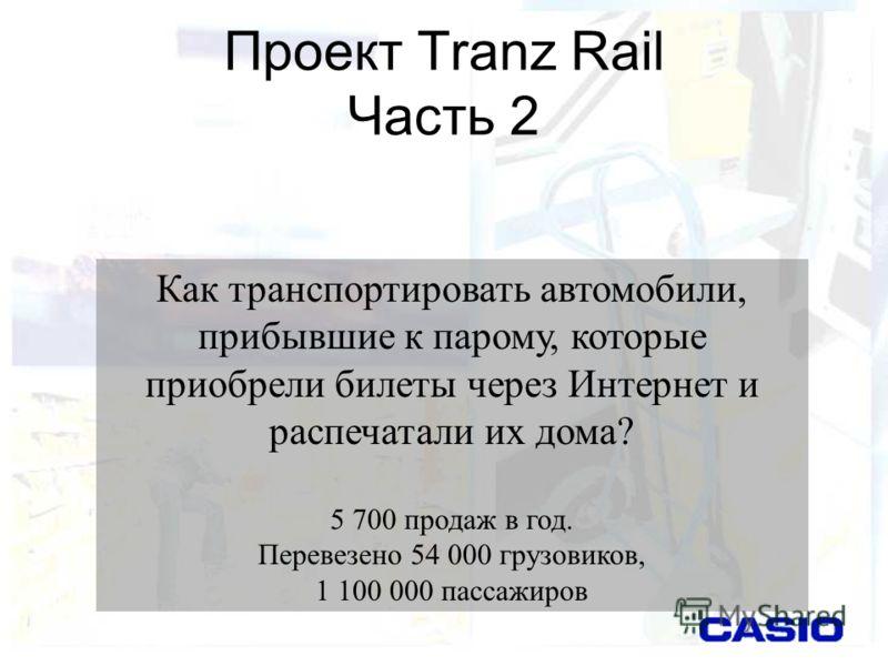 Проект Tranz Rail Часть 2 Как транспортировать автомобили, прибывшие к парому, которые приобрели билеты через Интернет и распечатали их дома? 5 700 продаж в год. Перевезено 54 000 грузовиков, 1 100 000 пассажиров