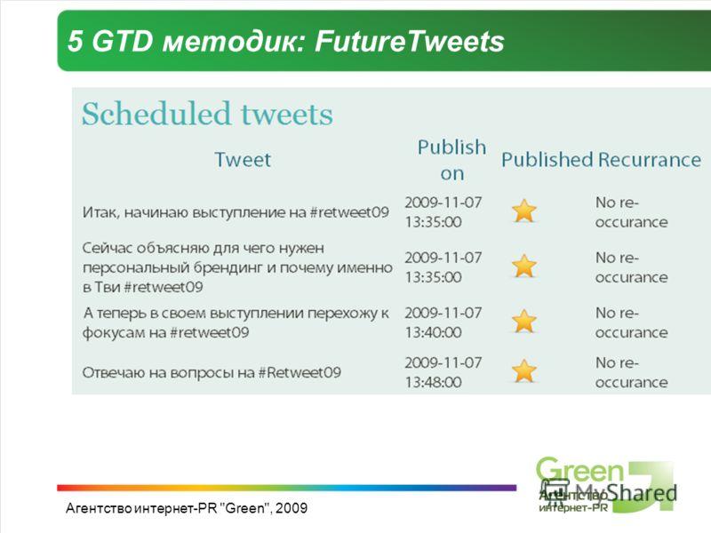 Агентство интернет-PR Green, 2009 5 GTD методик: FutureTweets