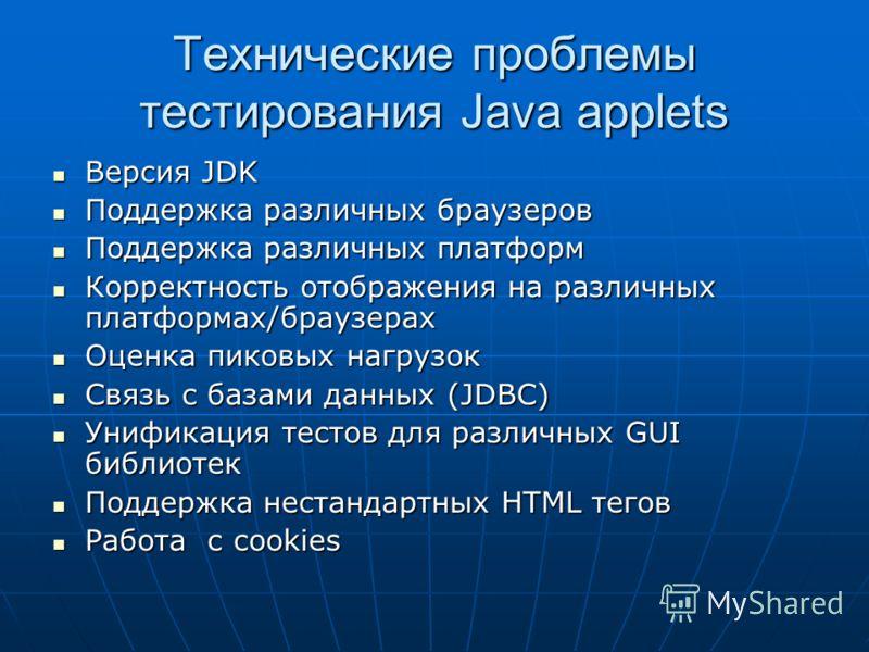 Технические проблемы тестирования Java applets Версия JDK Версия JDK Поддержка различных браузеров Поддержка различных браузеров Поддержка различных платформ Поддержка различных платформ Корректность отображения на различных платформах/браузерах Корр