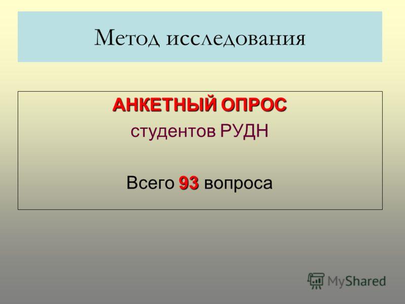 Метод исследования АНКЕТНЫЙ ОПРОС студентов РУДН 93 Всего 93 вопроса