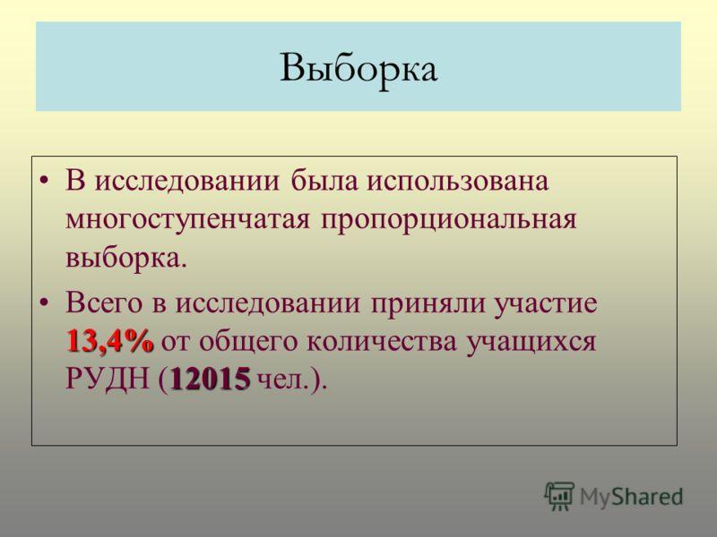 Выборка В исследовании была использована многоступенчатая пропорциональная выборка. 13,4% 12015Всего в исследовании приняли участие 13,4% от общего количества учащихся РУДН (12015 чел.).