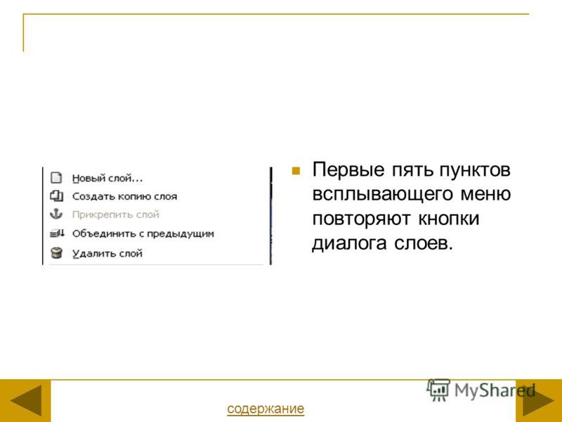Первые пять пунктов всплывающего меню повторяют кнопки диалога слоев. содержание