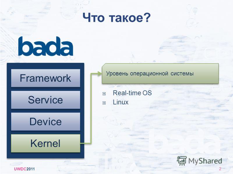 Что такое? UWDC2011 2 Kernel Device Framework Service Real-time OS Linux Уровень операционной системы