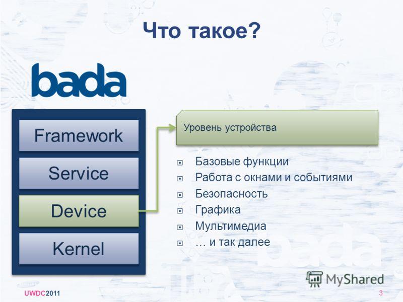 Что такое? UWDC2011 3 Kernel Device Framework Service Базовые функции Работа с окнами и событиями Безопасность Графика Мультимедиа … и так далее Уровень устройства