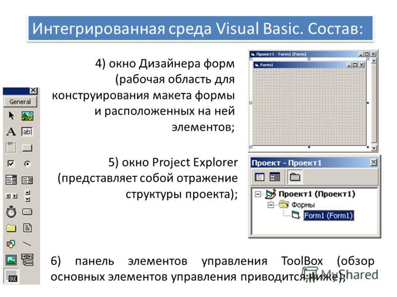 Интегрированная среда Visual Basic. Состав: 4) окно Дизайнера форм (рабочая область для конструирования макета формы и расположенных на ней элементов; 5) окно Project Explorer (представляет собой отражение структуры проекта); 6) панель элементов упра