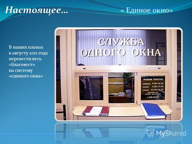 Настоящее… « Единое окно» В наших планах к августу 2011 года перевести весь «Благовест» на систему «единого окна»