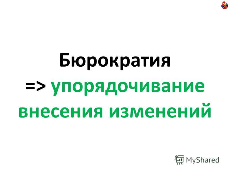 Бюрократия => упорядочивание внесения изменений