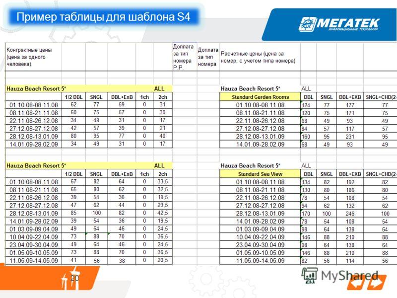 20 25.05.2010 20 Пример таблицы для шаблона S4