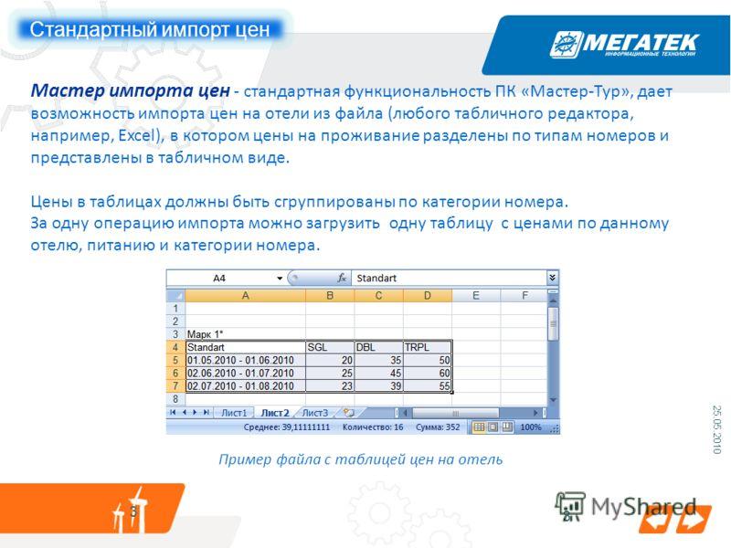 3 25.05.2010 3 Мастер импорта цен - стандартная функциональность ПК «Мастер-Тур», дает возможность импорта цен на отели из файла (любого табличного редактора, например, Excel), в котором цены на проживание разделены по типам номеров и представлены в