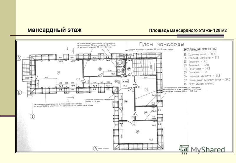 мансардный этаж Площадь мансардного этажа- 129 м2