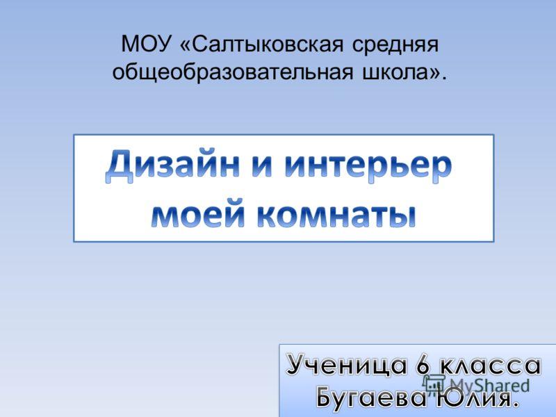 МОУ «Салтыковская средняя общеобразовательная школа».
