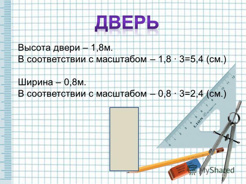 Высота двери – 1,8м. В соответствии с масштабом – 1,8 · 3=5,4 (см.) Ширина – 0,8м. В соответствии с масштабом – 0,8 · 3=2,4 (см.)