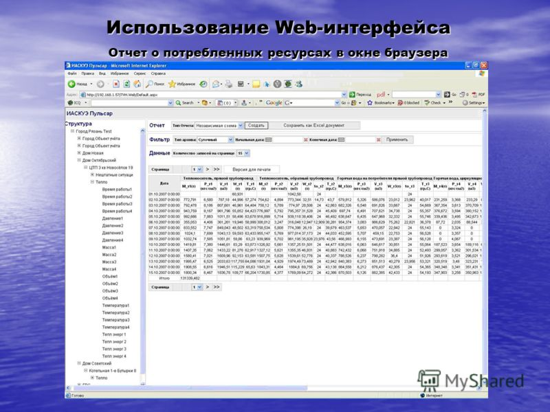 Использование Web-интерфейса Отчет о потребленных ресурсах в окне браузера