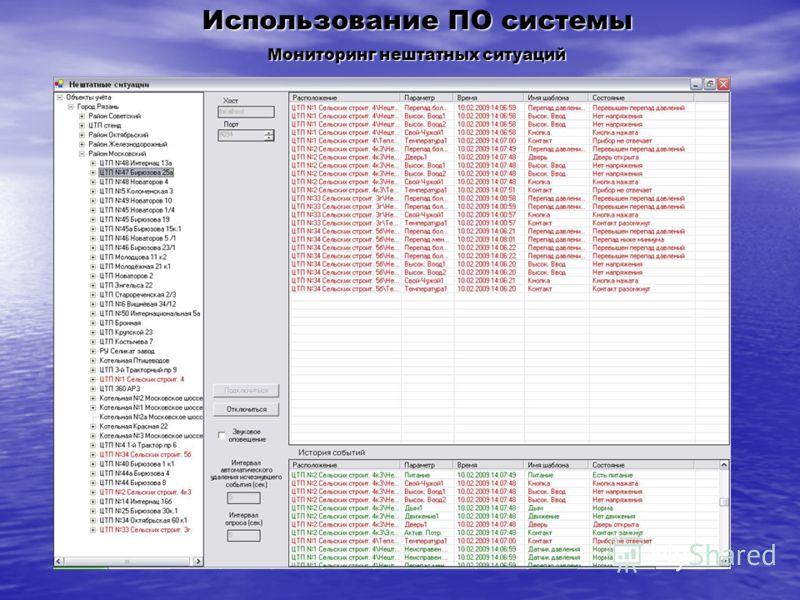 Использование ПО системы Мониторинг нештатных ситуаций
