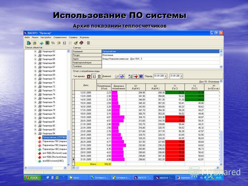 Использование ПО системы Архив показаний теплосчетчиков