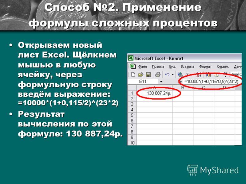Способ 2. Применение формулы сложных процентов Открываем новый лист Excel. Щёлкнем мышью в любую ячейку, через формульную строку введём выражение: =10000*(1+0,115/2)^(23*2)Открываем новый лист Excel. Щёлкнем мышью в любую ячейку, через формульную стр