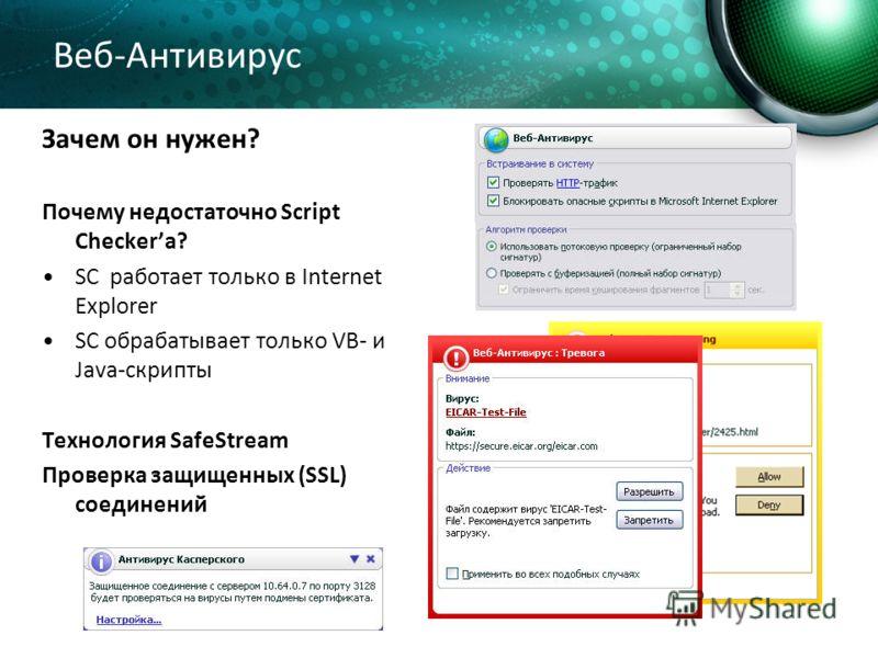 Веб-Антивирус Зачем он нужен? Почему недостаточно Script Checkerа? SC работает только в Internet Explorer SC обрабатывает только VB- и Java-скрипты Технология SafeStream Проверка защищенных (SSL) соединений