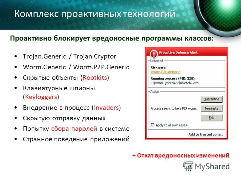 Комплекс проактивных технологий Trojan.Generic / Trojan.Cryptor Worm.Generic / Worm.P2P.Generic Скрытые объекты (Rootkits) Клавиатурные шпионы (Keyloggers) Внедрение в процесс (Invaders) Скрытую отправку данных Попытку сбора паролей в системе Странно