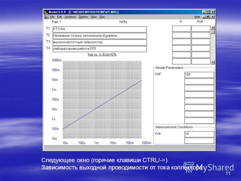 11 Следующее окно (горячие клавиши CTRL/->) Зависимость выходной проводимости от тока коллектора
