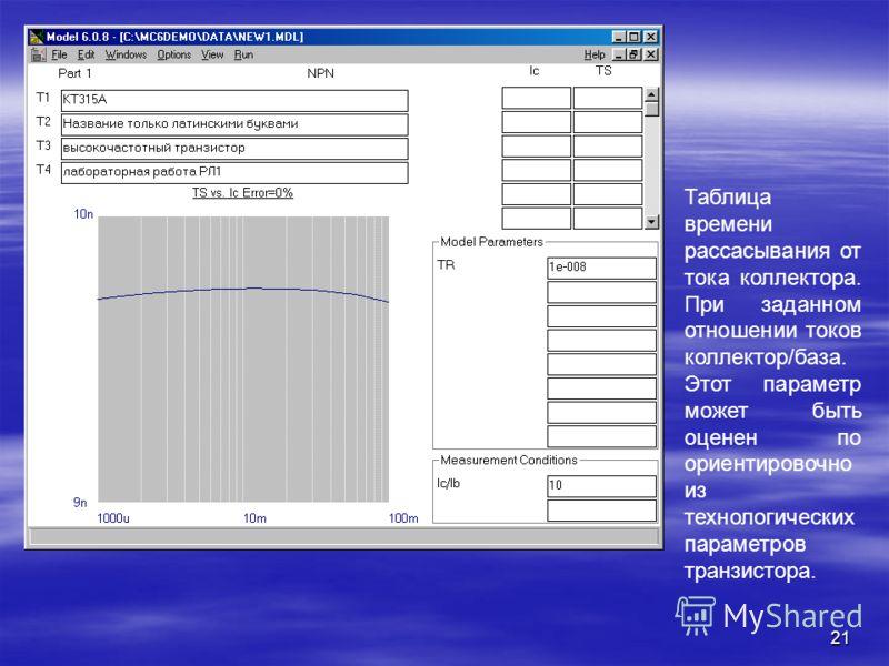 21 Таблица времени рассасывания от тока коллектора. При заданном отношении токов коллектор/база. Этот параметр может быть оценен по ориентировочно из технологических параметров транзистора.