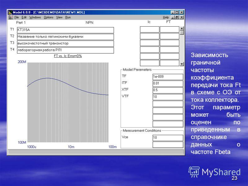 23 Зависимость граничной частоты коэффициента передачи тока Ft в схеме с ОЭ от тока коллектора. Этот параметр может быть оценен по приведенным в справочнике данных о частоте Fbeta