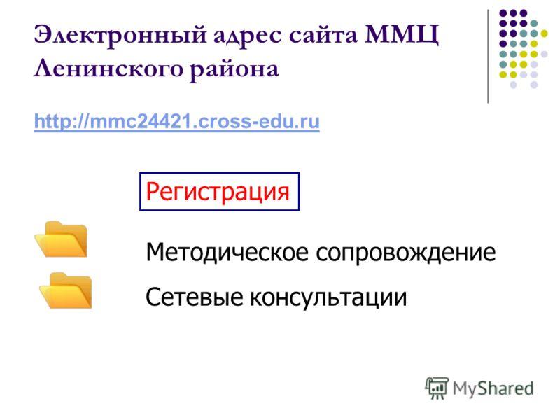 Электронный адрес сайта ММЦ Ленинского района http://mmc24421.cross-edu.ru Методическое сопровождение Сетевые консультации Регистрация