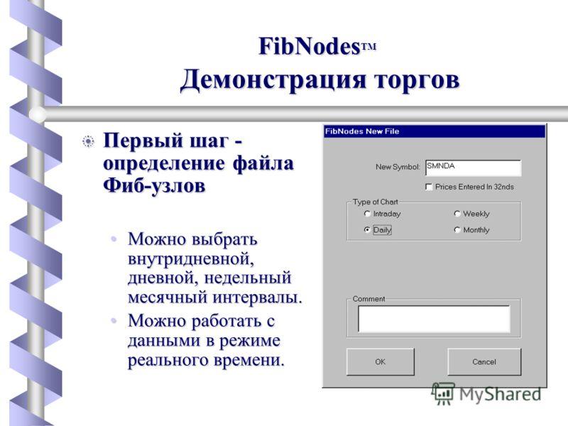 FibNodes b Первый шаг - определение файла Фиб-узлов Можно выбрать внутридневной, дневной, недельный месячный интервалы.Можно выбрать внутридневной, дневной, недельный месячный интервалы. Можно работать с данными в режиме реального времени.Можно работ