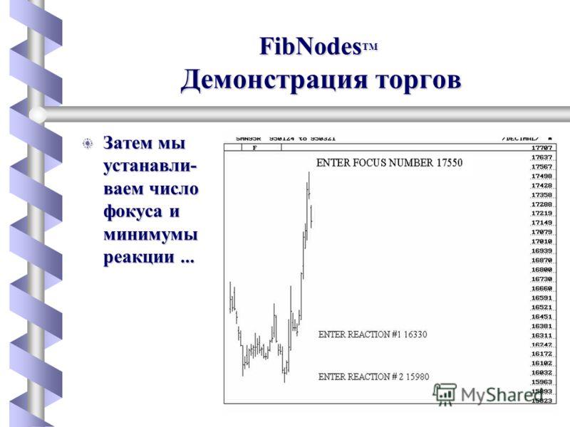 FibNodes b Затем мы устанавли- ваем число фокуса и минимумы реакции... FibNodes TM Демонстрация торгов