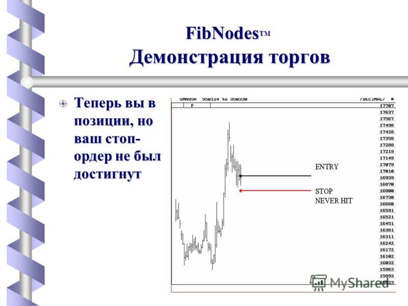 FibNodes b Теперь вы в позиции, но ваш стоп- ордер не был достигнут FibNodes TM Демонстрация торгов