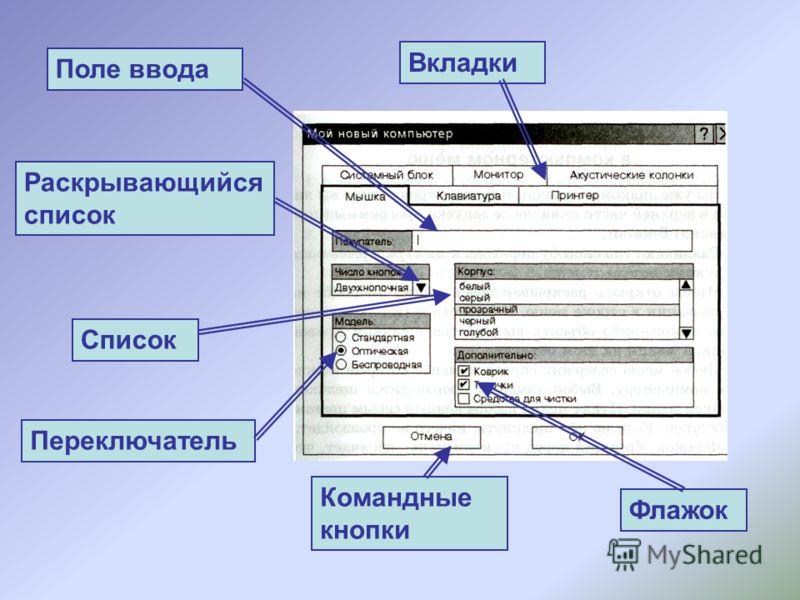 Поле ввода Список Раскрывающийся список Переключатель Флажок Вкладки Командные кнопки