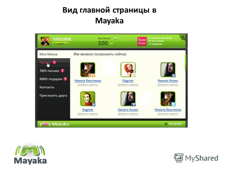 Вид главной страницы в Mayaka