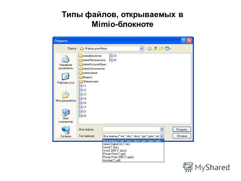 Типы файлов, открываемых в Mimio-блокноте