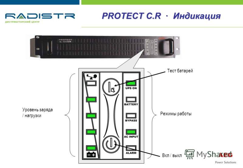 Уровень заряда / нагрузки Режимы работы Тест батарей Вкл / выкл PROTECT C.R · Индикация