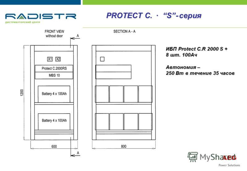 ИБП Protect C.R 2000 S + 8 шт. 100Ач Автономия – 250 Вт в течение 35 часов