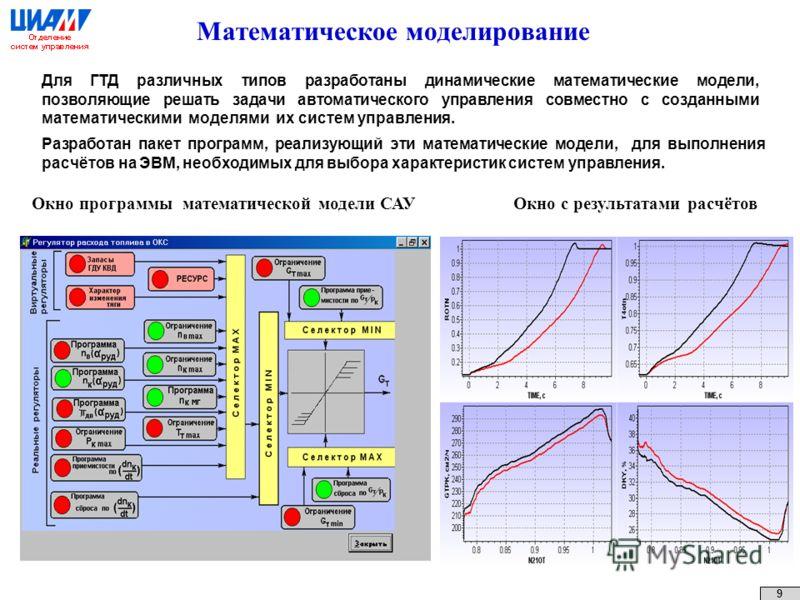 Математическое моделирование Для ГТД различных типов разработаны динамические математические модели, позволяющие решать задачи автоматического управления совместно с созданными математическими моделями их систем управления. 9 Окно с результатами расч