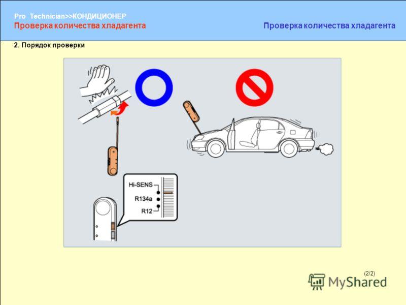 (1/2) Pro Technician>>КОНДИЦИОНЕР (2/2) 2. Порядок проверки Проверка количества хладагента