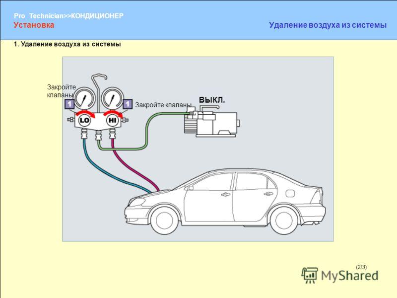 (1/2) Pro Technician>>КОНДИЦИОНЕР (2/3) Закройте клапаны УстановкаУдаление воздуха из системы 1. Удаление воздуха из системы Закройте клапаны ВЫКЛ.
