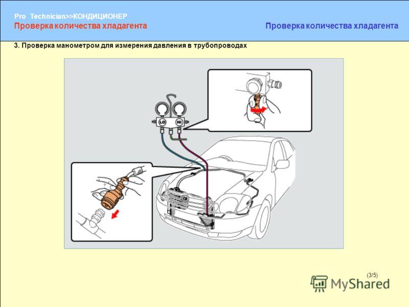 (1/2) Pro Technician>>КОНДИЦИОНЕР (3/5) 3. Проверка манометром для измерения давления в трубопроводах Проверка количества хладагента
