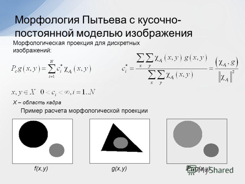 Морфология Пытьева с кусочно- постоянной моделью изображения X – область кадра Морфологическая проекция для дискретных изображений: Пример расчета морфологической проекции f(x,y)g(x,y)Pr f g(x,y)